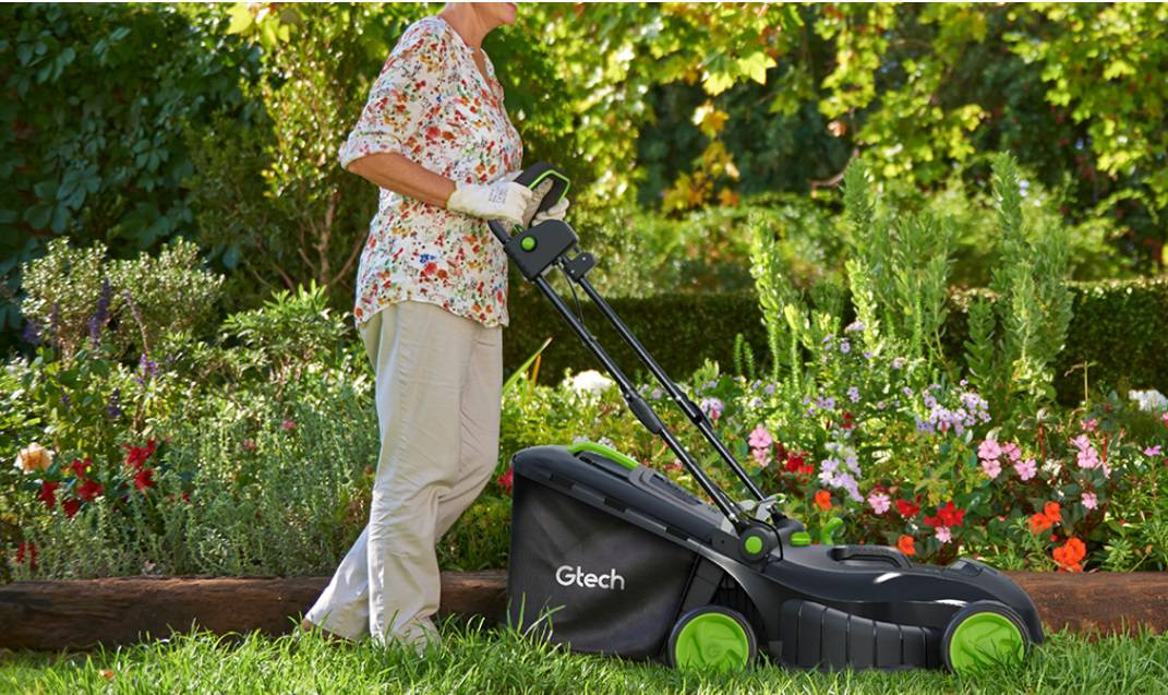 Gtech Cordless Lawnmower In Use