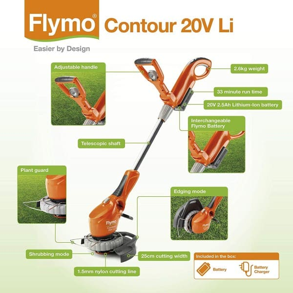 Flymo Contour Cordless 20V Practicalities